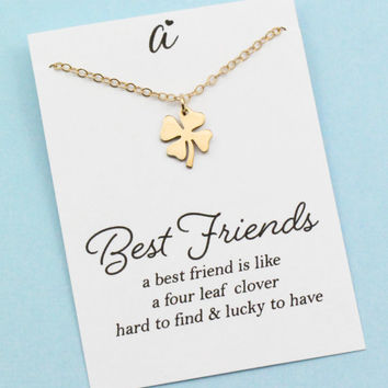 Four Leaf Clover Necklace . Best Friend Gift . Sweet and Simple Shamrock for Good Luck . SILVER OR GOLD