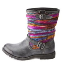 Dollhouse Rainbow Yarn-Striped Mid-Calf Boots - Black