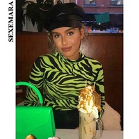 BOOFEENAA Sexy Bodysuit Women Zebra Animal Print Neon Green Hot Pink Turtleneck Long Sleeve Body Suit Tops Spring 2019 C70-I94