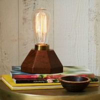 Faceted Wood Bulb Lamp
