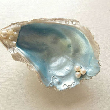 Oyster Shell Ring Dish, blue white pearl jewelry trinket box tray vanity wedding ring holder swarovski elements seashell coastal beach decor