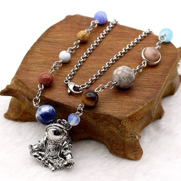 Meditated Astronaut Pendant Necklace Solar System 9 Planets Universe Space Jewelry Stainless Steel Chain Necklace