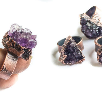 Amethyst druzy ring | Amethyst crystal ring | Purple druzy crystal ring | Raw crystal jewelry | Raw amethyst crystal statement ring