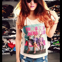 Two Door Cinema Club Shirt Side Boob Crop Top Short Tank Top Antique Off White Free Size