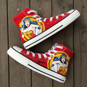 Wen Hot Sale Hand Painted Shoes Design Custom Wonder Woman Red High Top Women Men's Canvas Sneakers for Birthday Presents