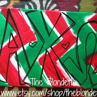 Alpha Chi Omega Chevron. 11 inch x 14 inch canvas A Chi O. Sorority. Chevron. Red. Green.