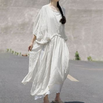 BUYKUD Cotton White Oversize Dress Women Loose Casual Maxi Dress 2018 Summer Solid Slit Irregular Short Sleeve Long Dresses
