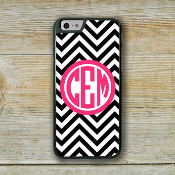 Cute Iphone 6 case, Hot pink phone case, Black and white chevron, Iphone 6 cover, Hot pink Iphone case, Preppy fashion accessories  (9725)