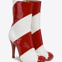 Maison Margiela Stripe Patent Tabi Stiletto Boot Women |