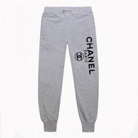"""Chanel"" Women Men Fashion Print Sport Stretch Pants Trousers Sweatpants Gym Jogging Exercise Casual Grey Black I"