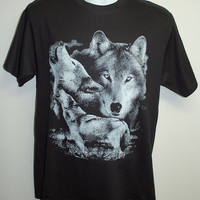 Wolf Shirt, wolf pack shirt, wolves, wolf, blue, moon.