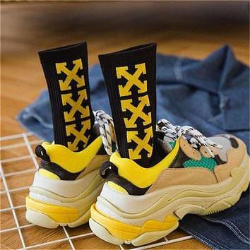 Trendy Harajuku Men Socks Hipster Cross Pattern Off Online Pop Streetwear Pride Socks Darn Tough Odd Future White Yellow Unisex