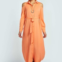 Ivy Woven Open Shoulder Maxi Shirt Dress