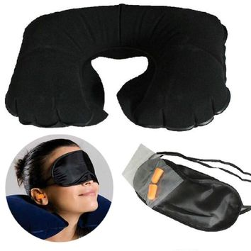 New 3 In1 Travel Kits Set Inflatable Air Neck Pillow + Eye Patch + Earplug Comfortable Travel Camping Accessories 8 Colors