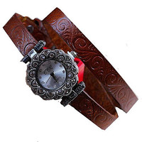 Retro / Anitque Marcasite (Look) Floral Face Etched Brown Double Leather Band...