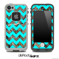 Camo & Trendy Blue Chevron Print Skin for the iPhone 4/4s or 5 LifeProof Case