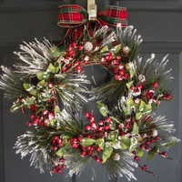 Christmas Wreath - Holiday Wreaths - Holiday Berry Wreath - Wreaths for Door - Etsy Wreaths - Holiday Decorations