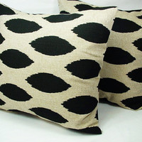 Pair of Decorative Throw Pillow Covers Black and Cream Ikat - 16 x 16 inches Cushion Cover Accent Pillow