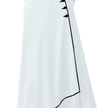 White Piped Button Embellished High Waist Maxi Skirt