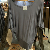 LONG SLEEVE DOLMAN TOP- LIGHT GRAY