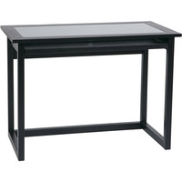"""OSP Meridian 42"""" Computer Desk with Glass Top, Black"""