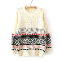 Long Sleeve Pullover Knit Tops Winter Christmas Sweater [8422524929]