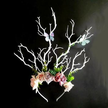 Gothic Floral Tree Antler Branch Headpiece