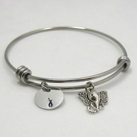 Elephant Bracelet - Elephant Jewelry - Initial Charm - Best Friend Charm Bracelet - Initial Bracelet - Personalized Gift - Elephant Bangle
