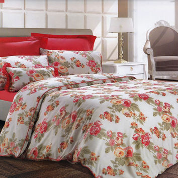 Custom Queen Size Coral Red, Orange, Peach Roses on Cream Backround Satin Duvet Cover Set, 3 pieces