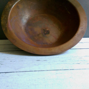 Maxwell-Phillip Co Copper Bowl/ Copper Wash Basin/ Antique Large Copper Bowl/ Verdigris Copper Bowl