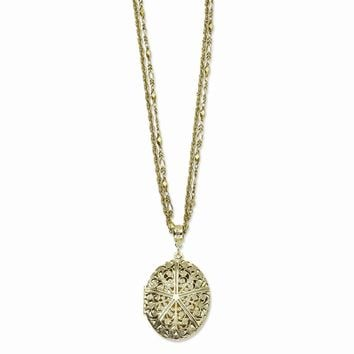 "Brass-tone Oval Locket on 16"""" Double Chain Necklace"