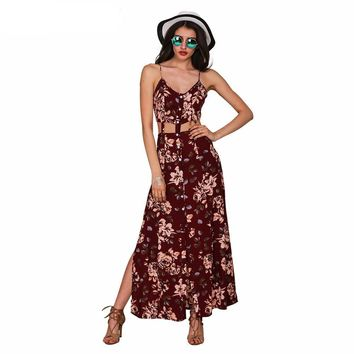 Simplee Apparel floral print boho women split long dress vestidos de fiesta Summer sexy backless vintage tunic maxi dresses robe