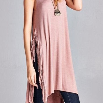 OPEN SIDE FRINGE SLEEVELESS TUNIC TOP