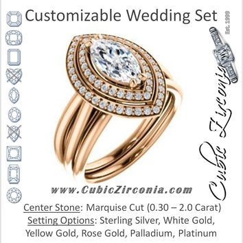 CZ Wedding Set, featuring The Brielle engagement ring (Customizable Marquise Cut Cathedral Double-Halo with Curved Split-Band)