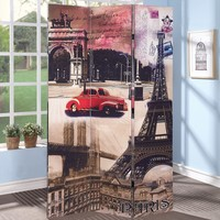 A.M.B. Furniture & Design :: Room Divider Screens :: Trudy 3 panel canvas French parisian style theme design room divider shoji screen