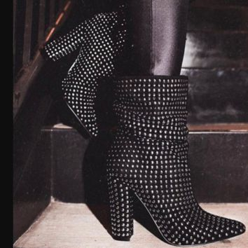 New popular rivet studs for women's ankle boots