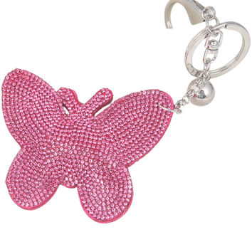 Gift For Lady 2 Colors s Lovely Women Butterfly Keychain Cover Rhinestone Inlaid PU Leather Key Rings SM6