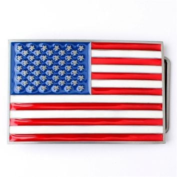 Men's American Flag Metal Belt Buckle