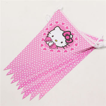 Hot sale10 Flags Baby Birthday Party Flags Pink Paper Banners Bunting Kids Hello Kitty Birthday Party Supplies themes Girls P264