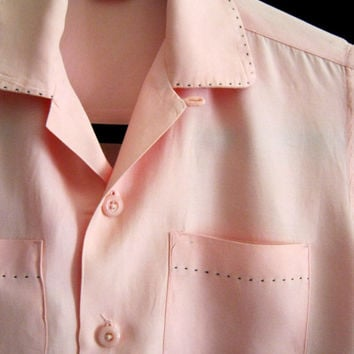Rare BOYS'  Rockabilly Rayon Vintage 40s Lounge SHIRT Button Loop Stitch Detail XS Woman