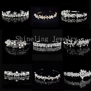 DCCKU62 Exquisite Art Deco Wedding Tiara Rhinestones Headband Crystal Bridal Crown Headpiece Pearls Wedding Hair accessories