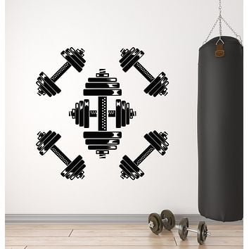 Vinyl Wall Decal Gym Training Barbell Iron Sport Fitness Club Stickers Mural (g2533)