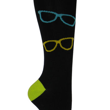 Sunglasses Knee High Socks in Black