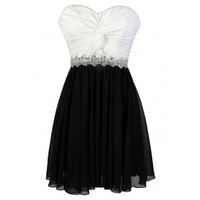 Lily Boutique Black and White Party Dress, Cute Black and White Dress, Black and White Chiffon Dress, Embellished Black and White Dress, Black and White Sequin Dress, Black and Ivory Party Dress, Black and White Cocktail Dress, Black and White Prom Dress L