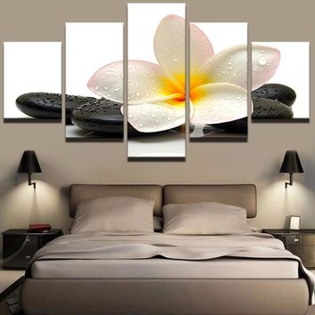 Modular Picture Large Canvas Painting Framework 5 Panel Beautiful Flower Printed For Bedroom Living Room Home Wall Art Decor