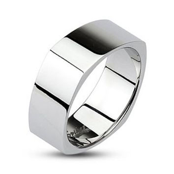 Mirror Polished Square Band Ring 316L Stainless Steel