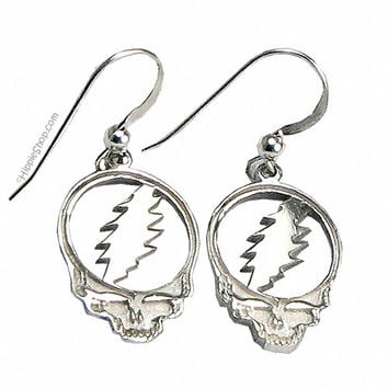 Grateful Dead - Steal Your Face Sterling Silver Earrings on Sale for $29.99 at HippieShop.com