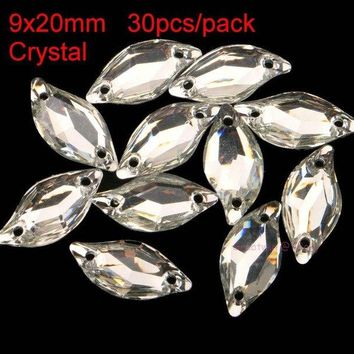 Clear Backpacks popular 9x20mm 30pcs/pack Flat Back Resin Sew On Rhinestonea Leaf Bowknot Square Sewing On Crystals Horse Eye Clear Two Holes AT_62_4