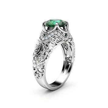 Unique Engagement Ring Emerald Engagement Ring 14K White Gold Ring