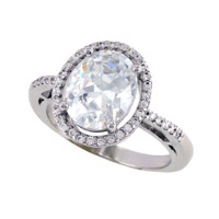 Oval Halo - FINAL SALE Clear CZ Engagement Ring